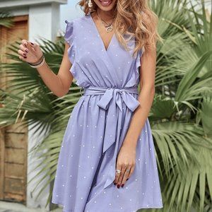 Boho Lilac Polka Dot Belted Surplice Mini Dress